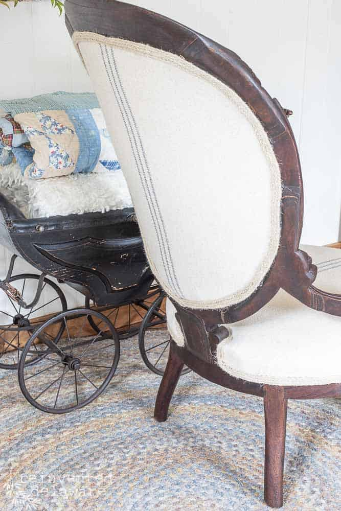 back view of reupholstered victorian style chair