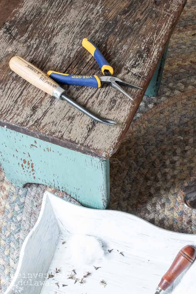 tools used for removing old tacks in furniture for reupholstery