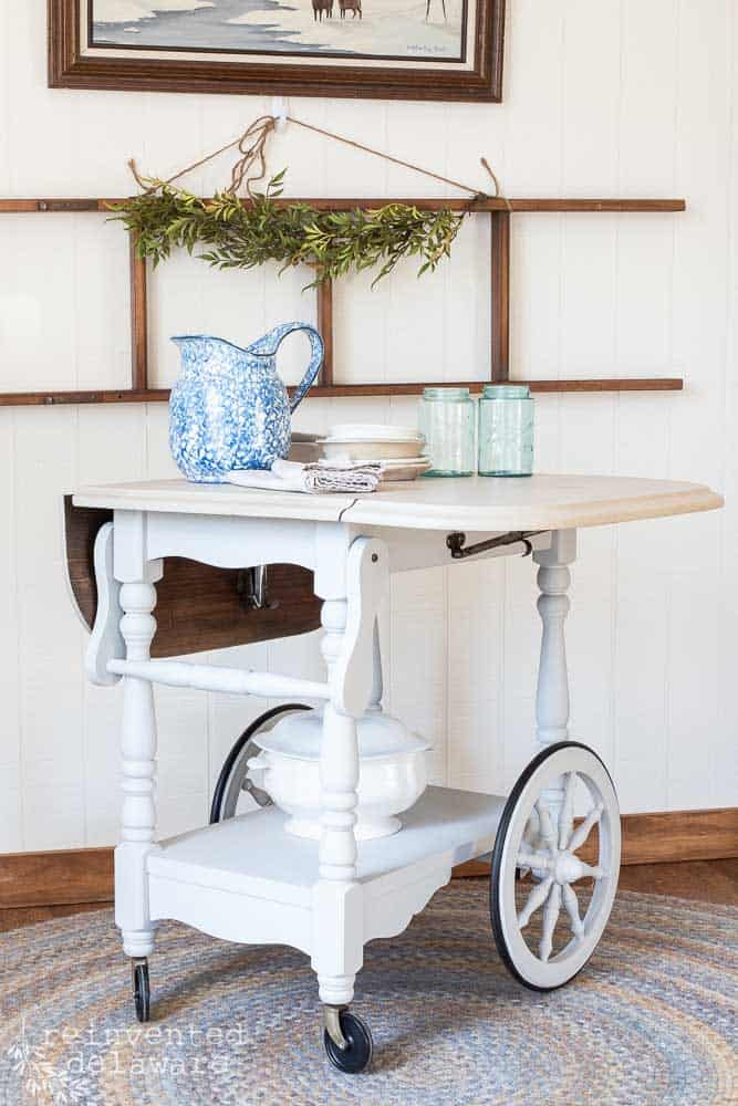 repurposed tea cart painted in Fusion Mineral Paint