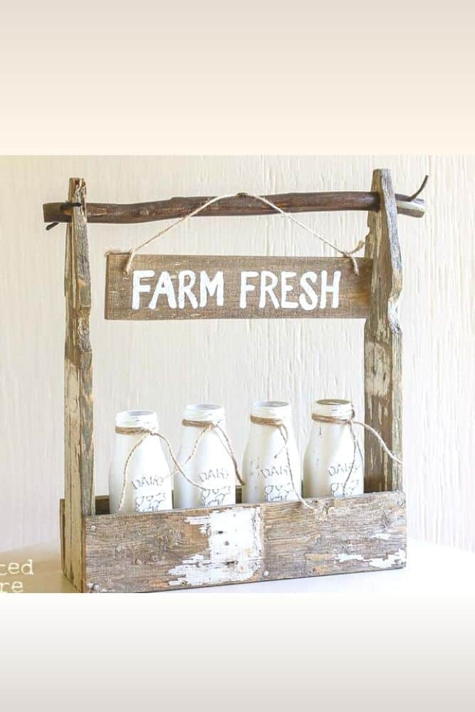 """old fence picket project - small decorative table top crate with painted milk jars and sign """"farm fresh"""""""