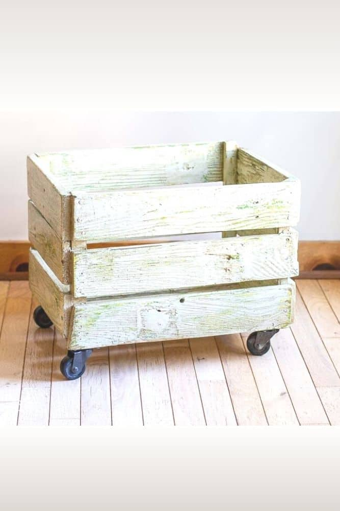 reclaimed fence picket project - hand built crate box on casters