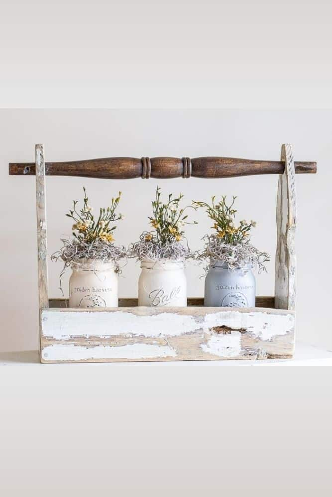 reclaimed fence picket crate with mason jars filled with florals
