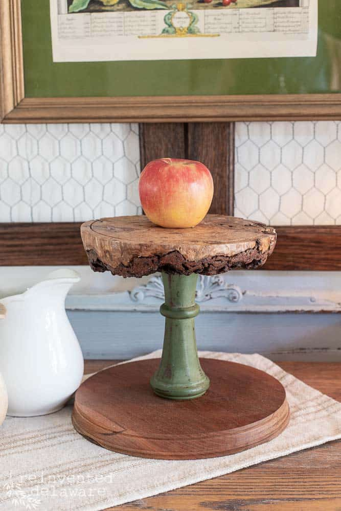 repurposed spindle with wood top riser