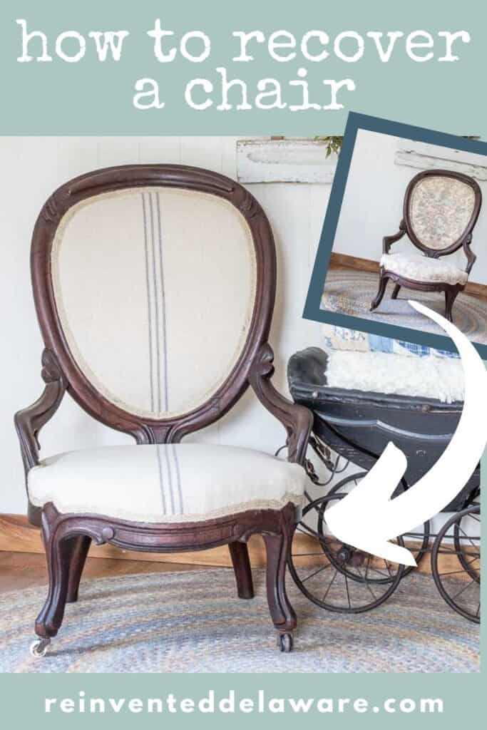 Pinterest graphic showing before and after of recovered antique chair
