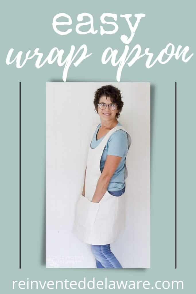Pinterest graphic for how to sew an apron blog post showing finished apron