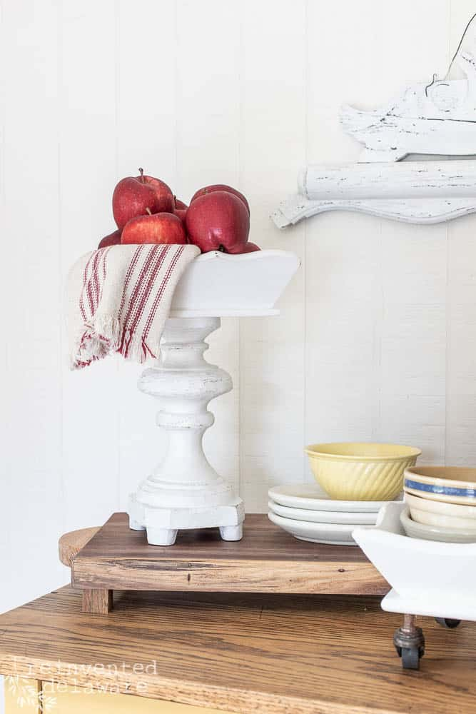 riser tray made from repurposed thrifted tray and lamp base painted in white