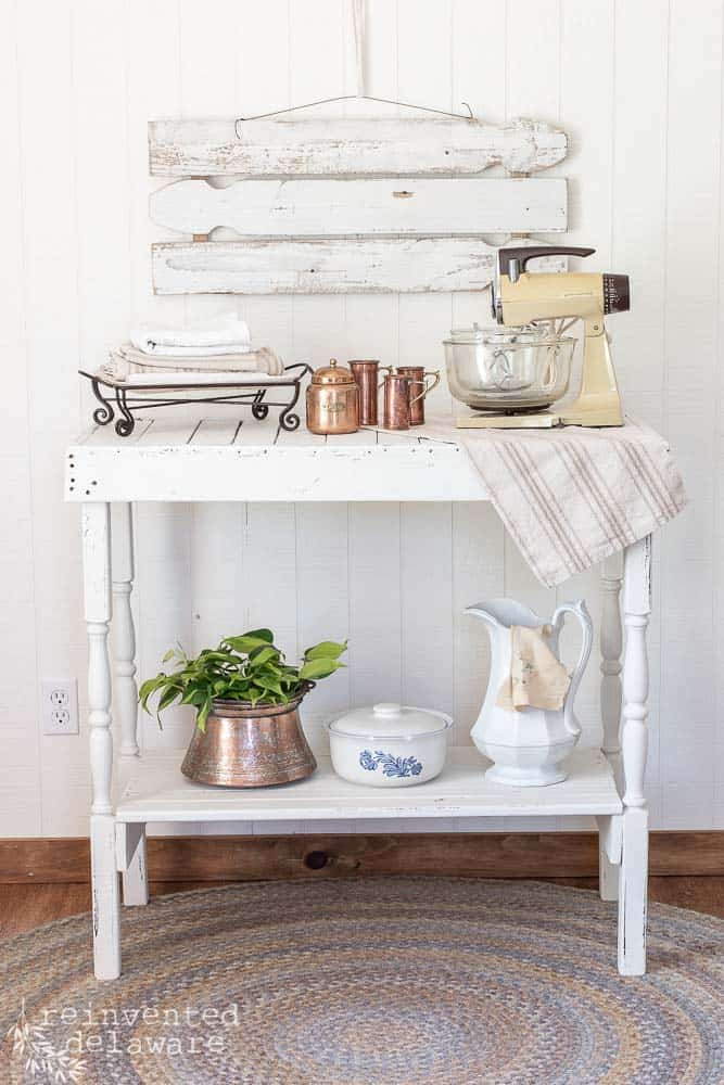 repurposed home decor and furniture items staged together