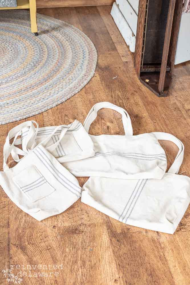 repurposed grainsack fabric made into tote bags with straps