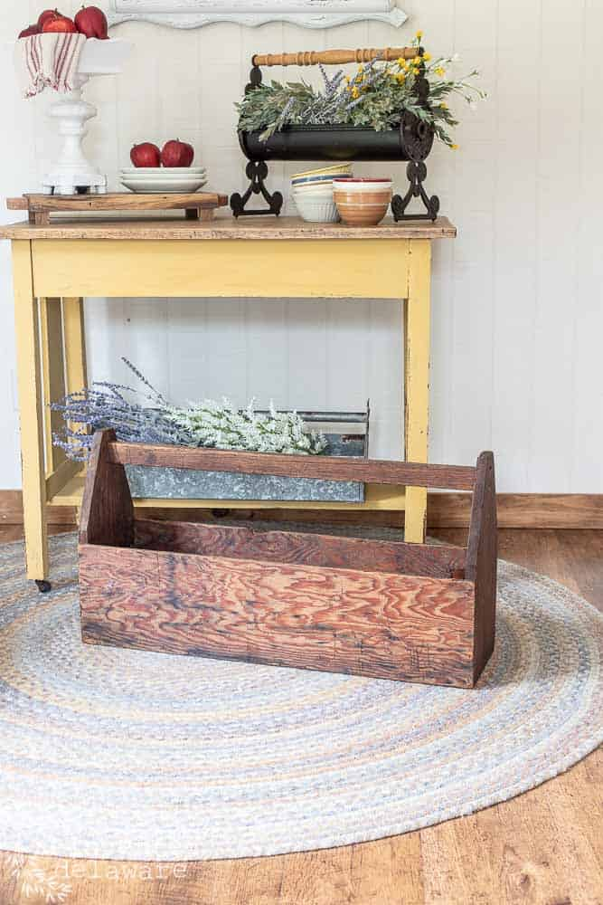 repurposed wood tool box used for farmhouse style home decor