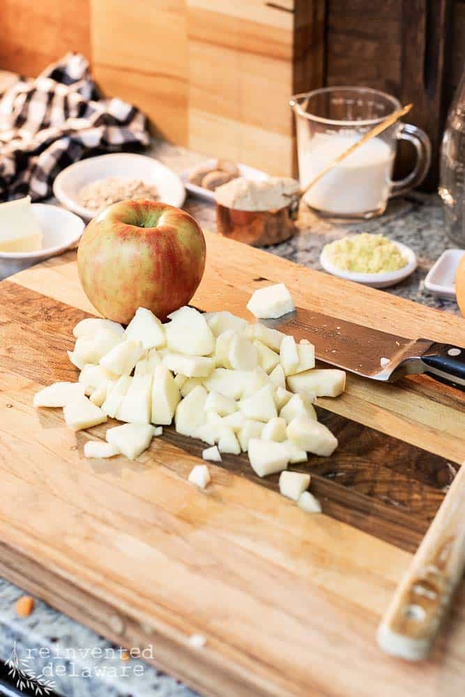 chopped apples chunks on top of cutting board