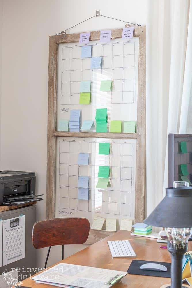 full view of vintage window being used as an editorial calendar for bloggers and YouTubers
