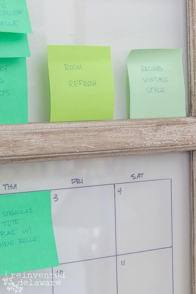 repurposed window being used as a content calendar for blogging and YouTube