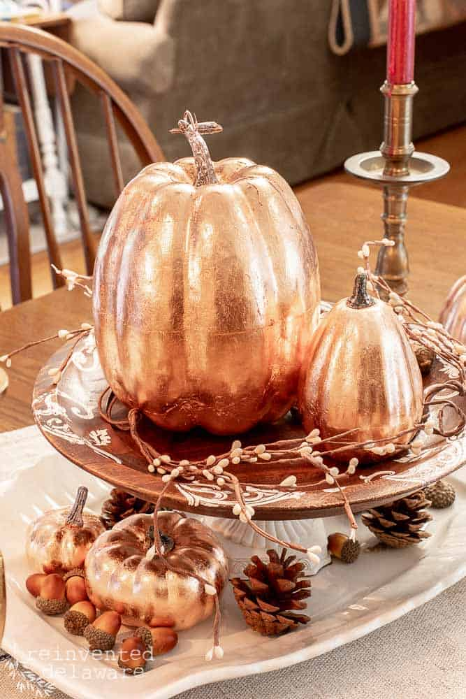 displayed copper leaf pumpkins from tutorial to learn how to copper leaf a pumpkin