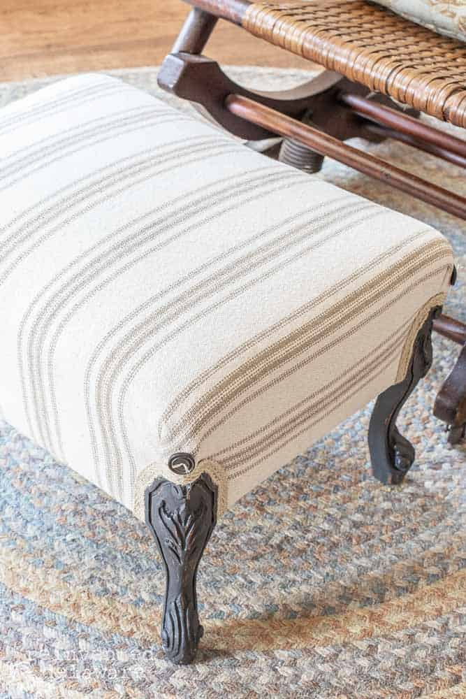 close up detail shot of upholstered farmhouse style footstool