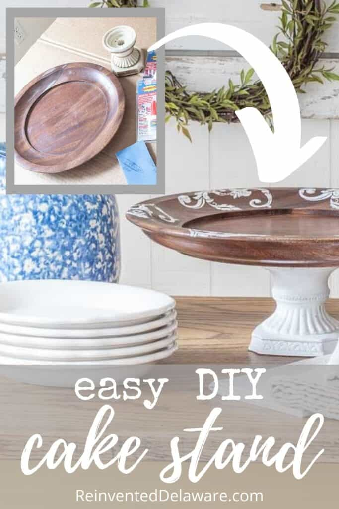 Pinterest graphic showing before and after of thrifted cake plate repurposed into a cake stand