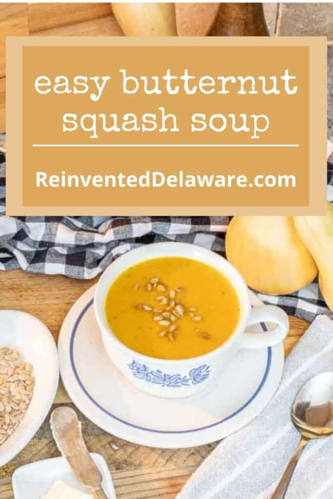 pinterest graphic showing staged bowl of butternut squash soup