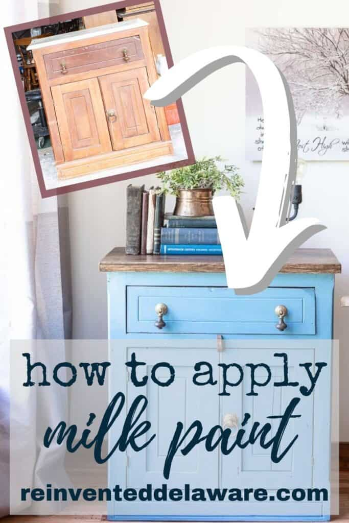 Pinterest graphic showing before and after of furniture makeover