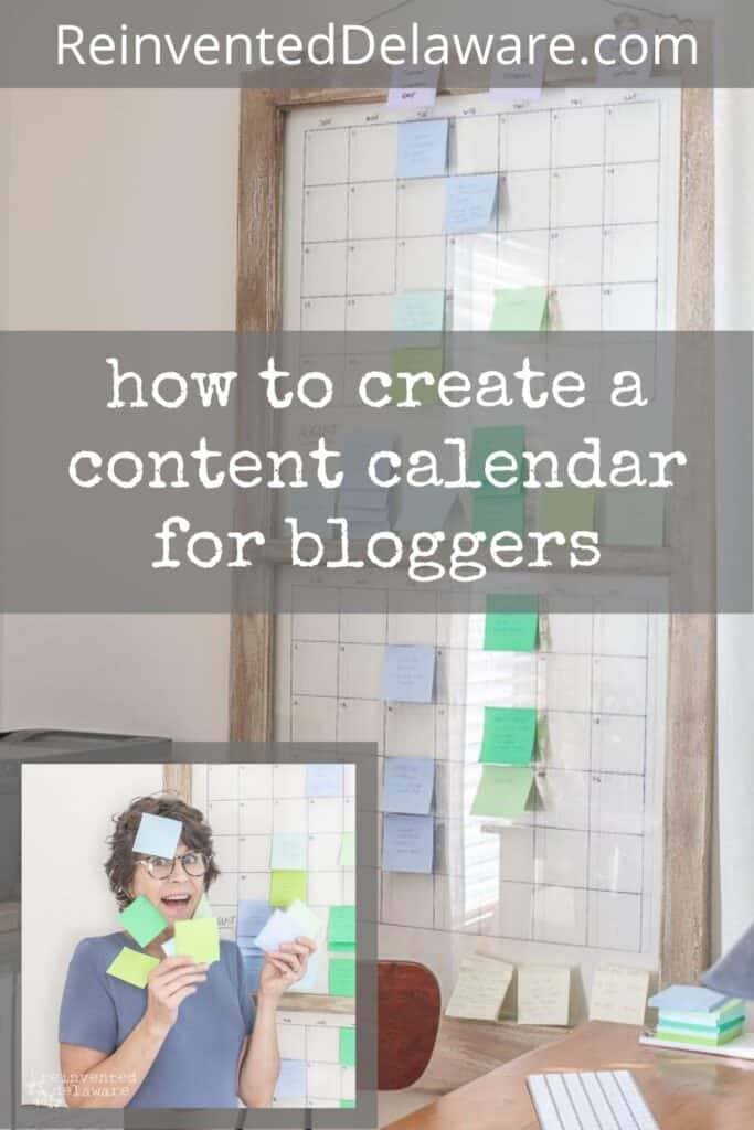 Pinterest graphic showing lady with Post it notes in foreground and vintage window content calendar in background