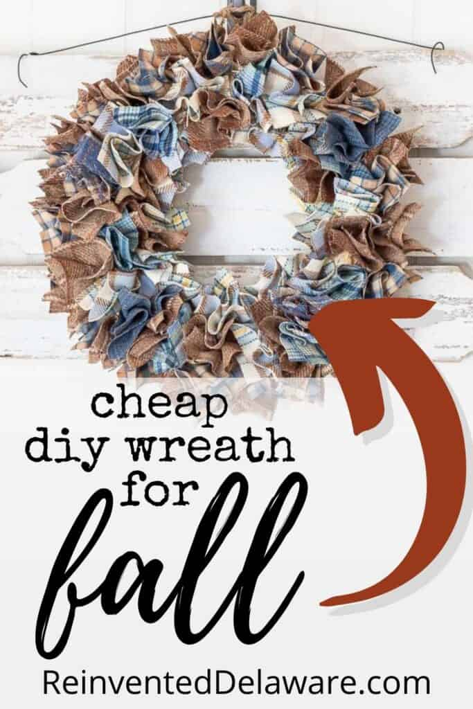 Pinterest graphic showing diy wool plaid wreath for fall