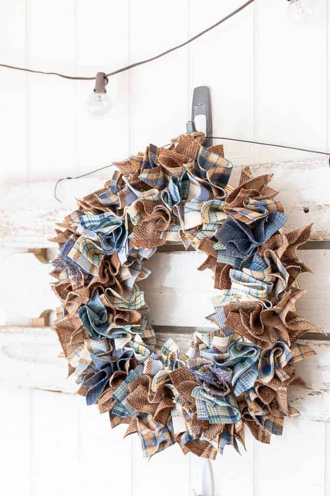 side view of handmade wool scrap wreath for fall