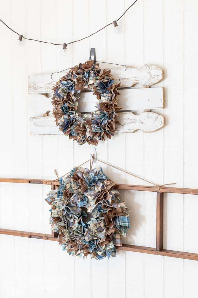 side view of diy wreaths hanging on wall