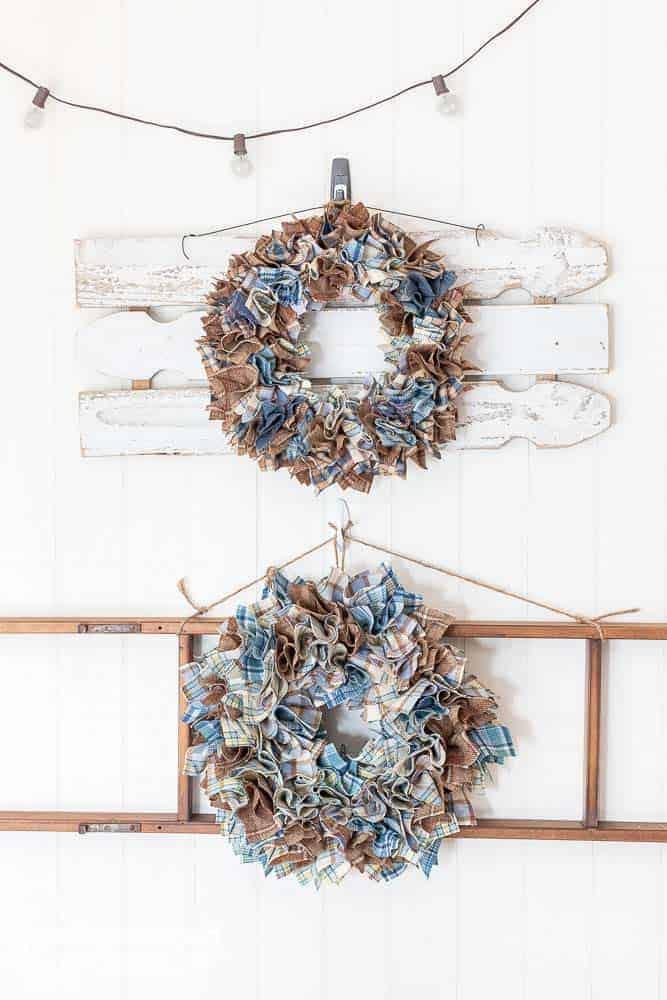 two scrap wool diy wreaths hanging on wall