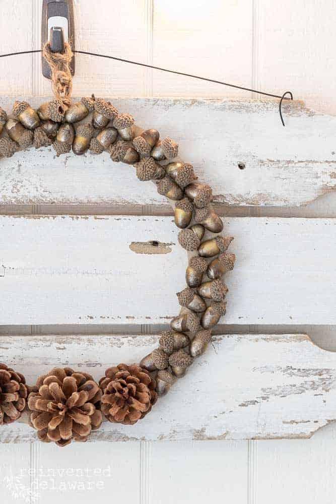 DIY Pinecone Wreath with Acorns