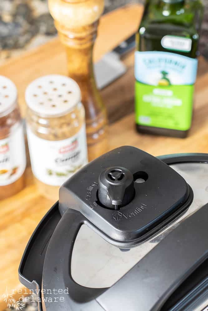 close up view of 'venting' knob on the Instant Pot