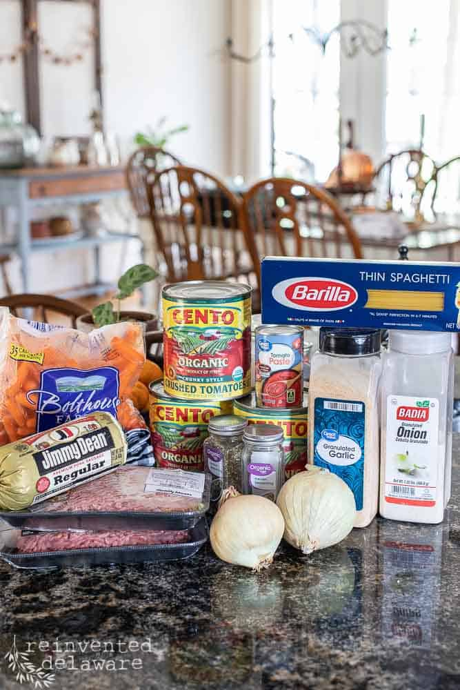 ingredients for Intstant Pot spaghetti sauce gathered on a countertop