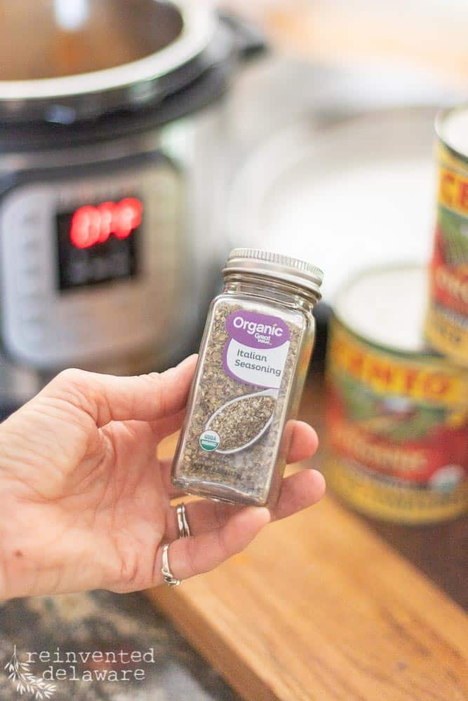 close up view of Italian Seasoning bottle for the Instant Pot spaghetti sauce