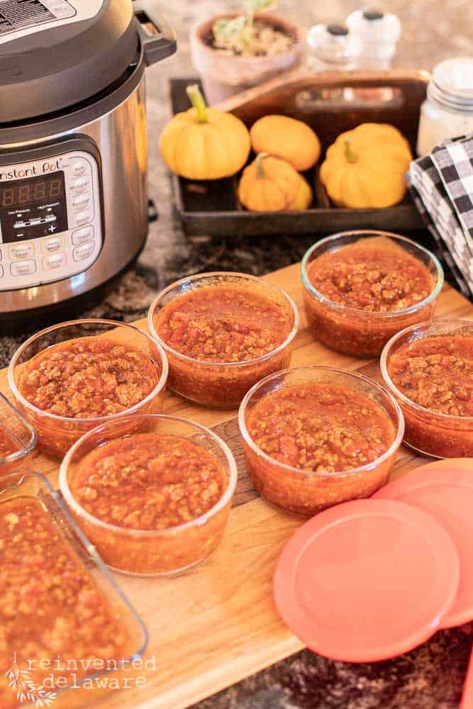 dishes of prepared spaghetti sauce ready for the freezer