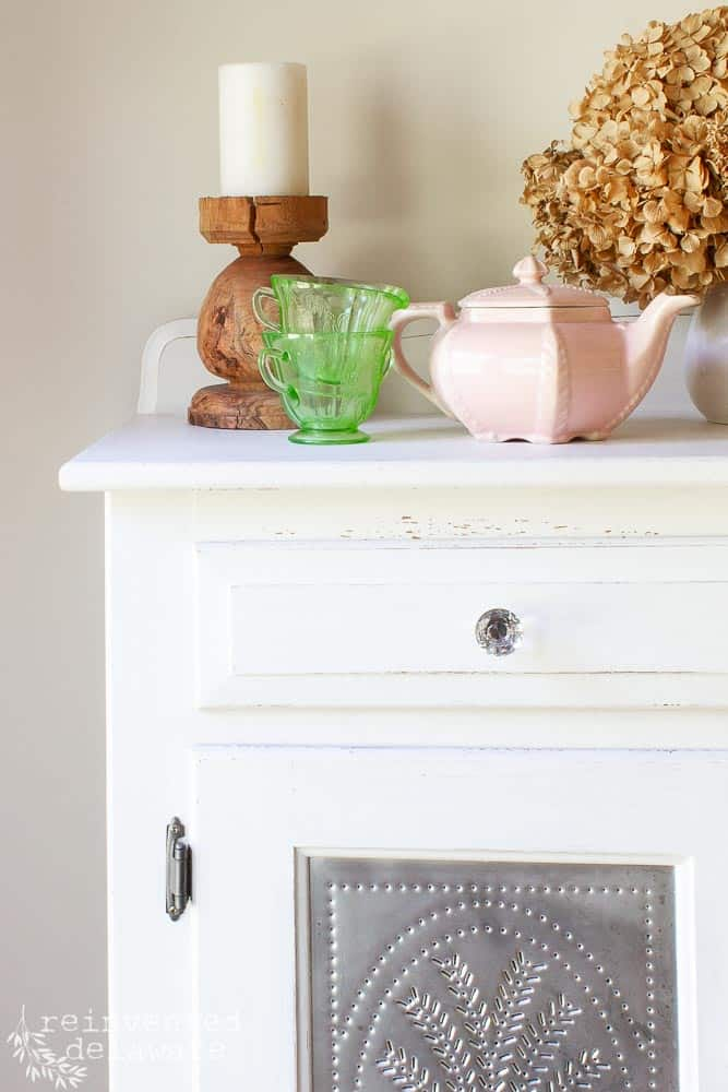 Painted Oak Furniture   80's Pie Safe Makeover