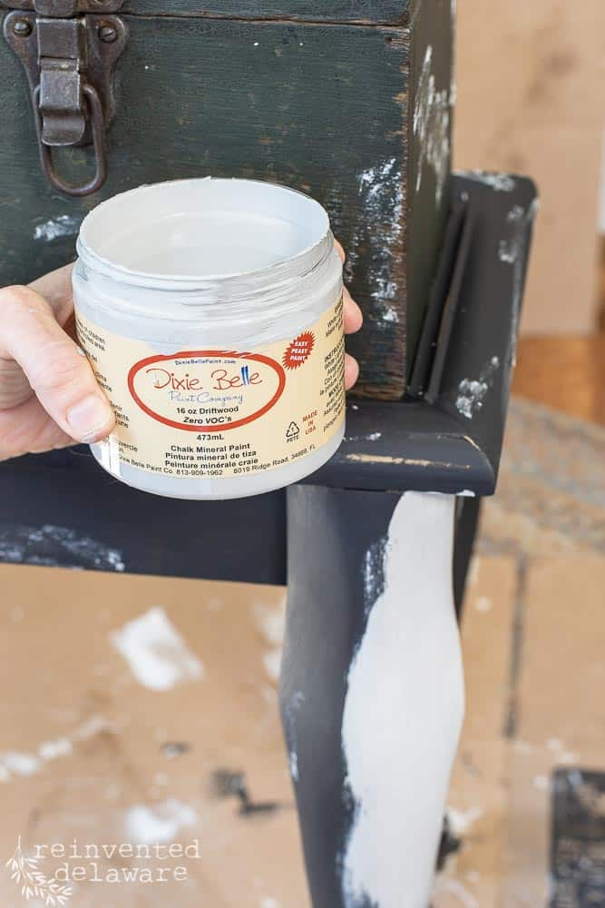 close up shot of Dixie Belle Chalk Mineral Paint in the color Driftwood