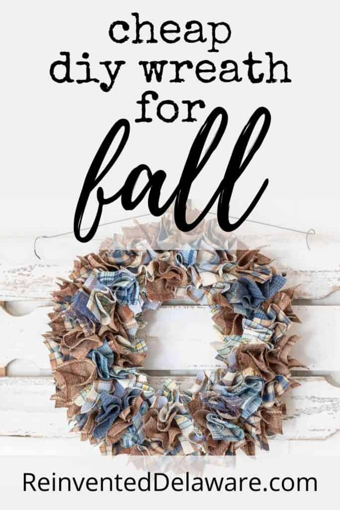 Pinterest graphic for cheap diy wreath for fall blog post