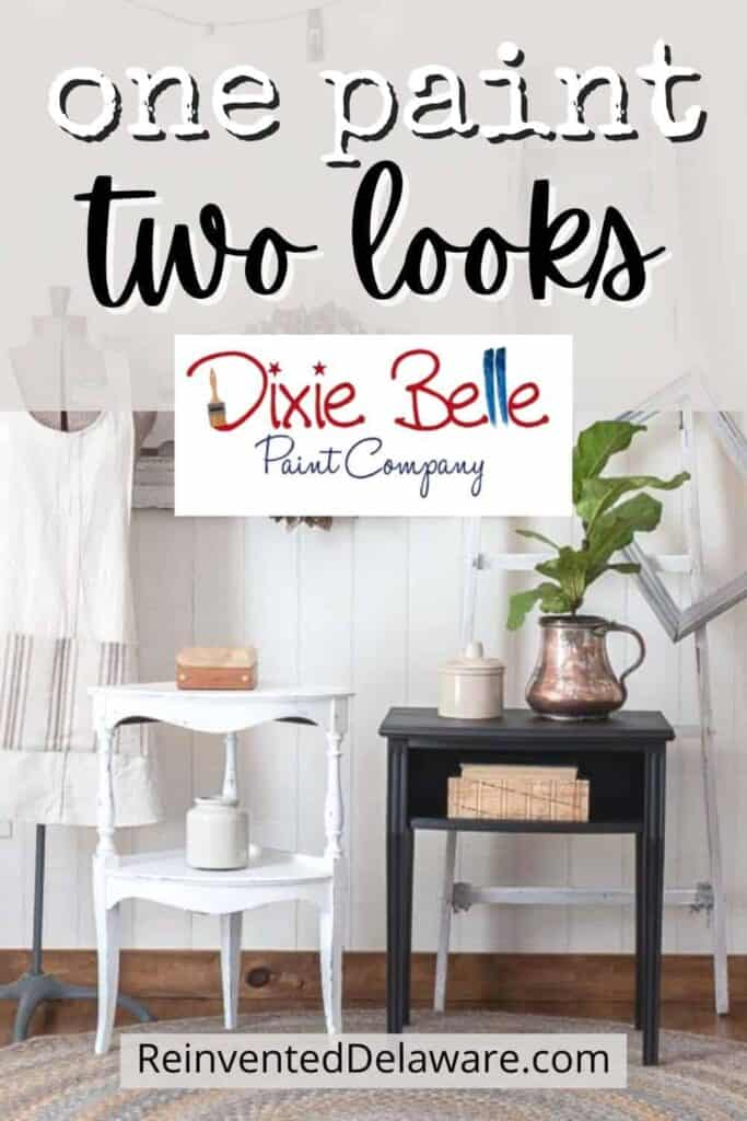 """Pinterest graphic with text overlay """"one paint, two looks' with Dixie Belle logo and an image of two small tables painted in Cotton and Midnight Sky staged with home decor pieces"""