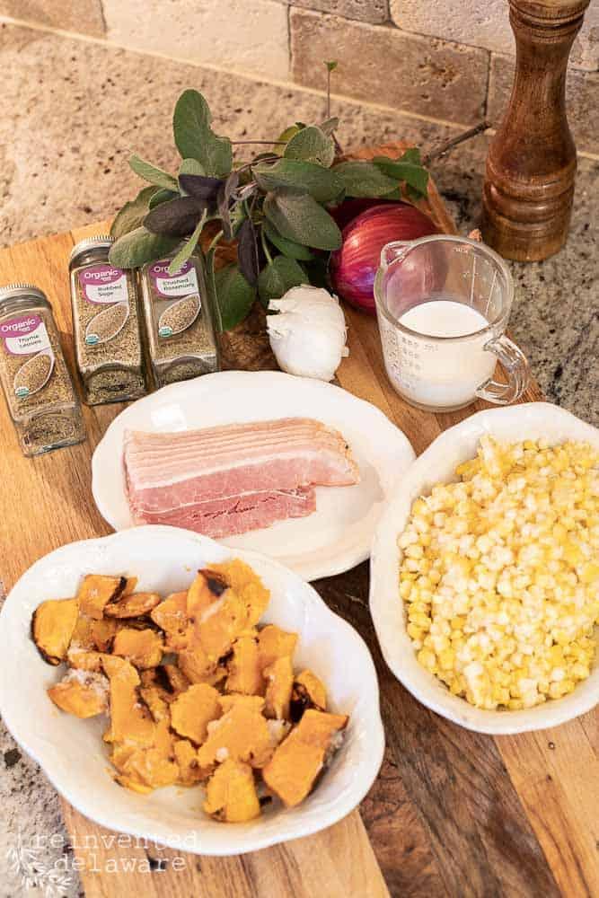 incgredients for chicken corn chowder with butternut squash, frozen corn, bacon, seasoning, garlic, onion, cup of cream