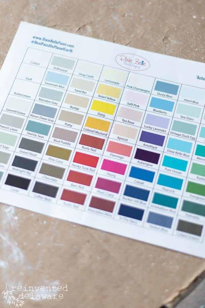 close up of color chart for Dixie Belle paint ideas