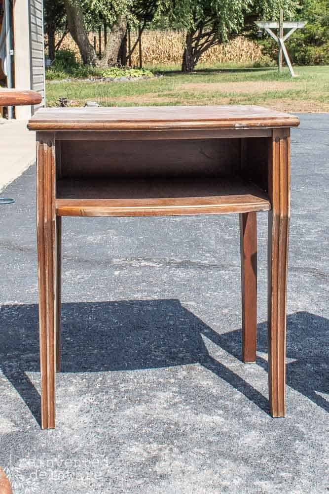 small table in brown stain before furniture makeover with Dixie Belle paint