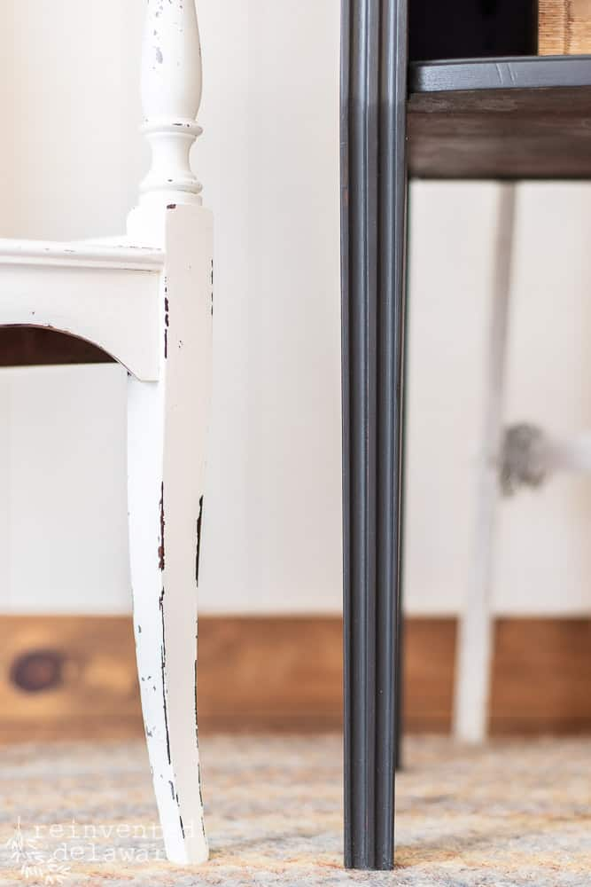 close up view of legs on each, a small white table and a small black table, showing ideas for Dixie Belle Paint